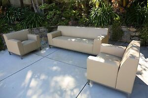 Leather Hbf Sofa Couch And Two Leather Lounge Office Chairs