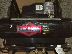 Black Max Twin Tank Air Compressor 5 gallons 125 Max Psi Re0880504 Used