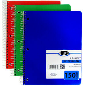 36 Notebooks 5 Subject 150 Sheets Wide Rule Paper