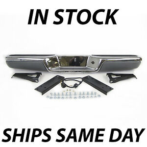 New Chrome Steel Rear Bumper Assembly For 1997 2004 Dodge Dakota W Pads 97 04