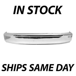New Chrome Steel Front Bumper Face Bar For 1992 1996 F150 Bronco W Out Pad Holes