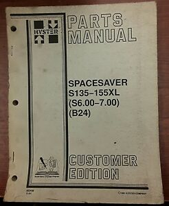 Hyster Parts Manual For Spacesaver S135 155xl 1991