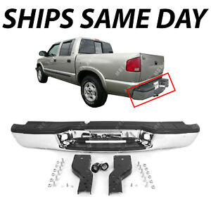 New Chrome Steel Rear Bumper Assembly For 1998 2004 Chevy S10 Gmc Sonoma 98 04