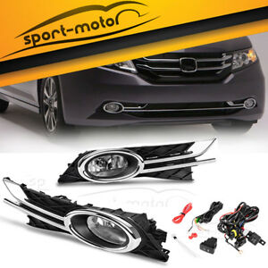 For 2014 2016 Honda Odyssey Clear Fog Light Front Bumper Lamps Switch Wiring Kit