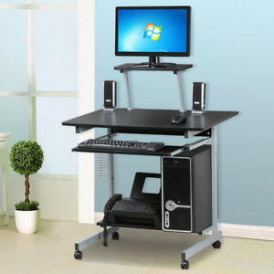 Small Rolling Computer Corner Work Desk Printer Desktop Space Saver Home Office