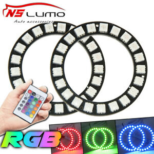 2x Rgb 75mm Led Angel Eyes Halo Ring Light Universal Car Drl With Remote Control