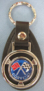 Blue Corvette Mini Steering Wheel Leather Key Ring 2009 2010 2011 2012 2013