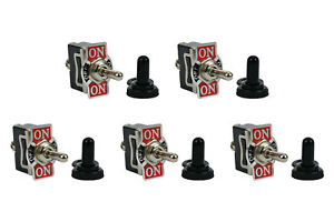 5 Pc Temco 20a 125v On off on Spdt 3 Terminal Toggle Switch W Waterproof Boot