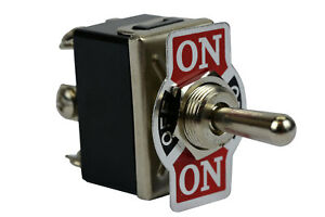 Heavy Duty Toggle Switch 20a 125v on off on Dpdt 6 Terminal Momentary 2 Side