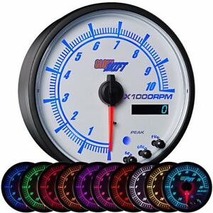 95mm Glowshift White Elite 10 Color In Dash Tachometer W Shift Light Gs Ewt16