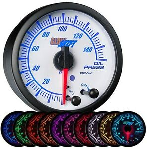 52mm Glowshift White Elite 10 Color Oil Pressure Gauge Gs ewt04