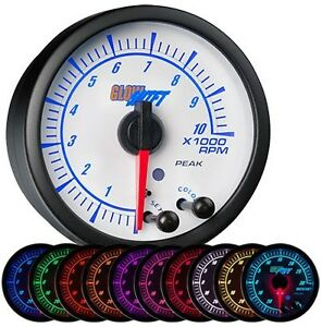 52mm Glowshift White Elite 10 Color Led Tachometer Rpm Gauge Gs Ewt10