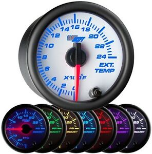 52mm Glowshift White 7 Color 2400 F Exhaust Gas Temperature Gauge Gs W708