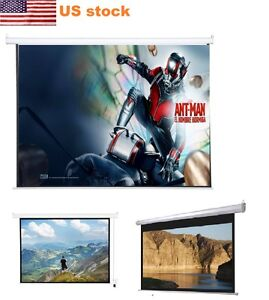 New 120 4 3 Home White Projector Screen Auto Electric Motorized Remote Control