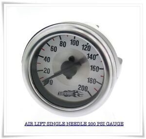Air Lift Single Needle Gauge 200 Psi Air Ride Bagged