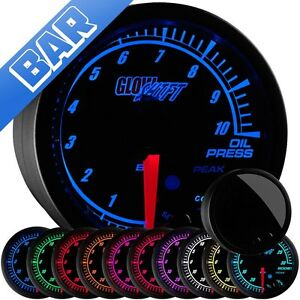 52mm Glowshift Elite 10 Color Bar Metric Oil Pressure Press Gauge Gs et04 bar