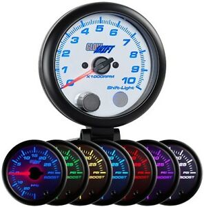 3 3 4 Glowshift White 7 Color Led Tachometer Rpm Gauge W Shift Light Gs W709