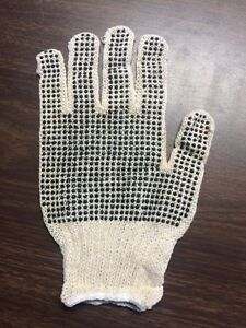 25 Dozen 300 Pair String Knit Gloves With Pvc Dots On Both Sides Work Large New