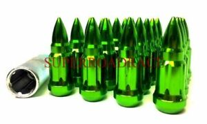 Nnr Bullet spiked Tip Steel 12x1 5 Lug Nut Set Of 20 Chrome Green