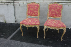 Beautiful Pair Of French Louis Hand Painted Carved Accent Chairs New Upholstery