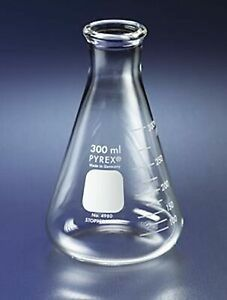 Brand New Pyrex 250ml Narrow Mouth Erlenmeyer Flasks With Heavy Duty Rim 12 pk