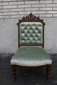 Incredible Inlaid Victorian Carved Vanity Desk Side Chair New Upholstery