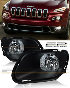 For 2014 2017 Jeep Cherokee Clear Fog Lights Full Complete Kit Switch Wiring