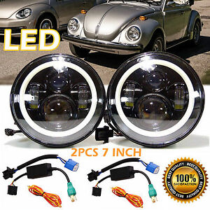 2pc 7inch 150w Led Round Headlight Upgrade Lamp Hi Lo Beam For Vw Beetle Classic