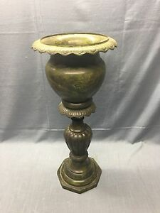 Antique Brass Flower Plant Stand Planter Ornate Beautiful Paint 24 Tall