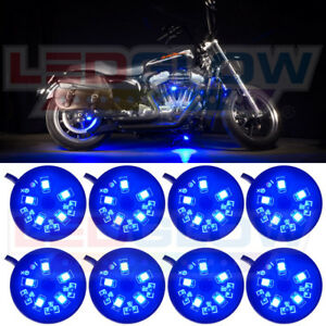 Ledglow 8pc Blue 40 Led Pod Motorcycle Accent Lights Neon Underglow Lighting Kit
