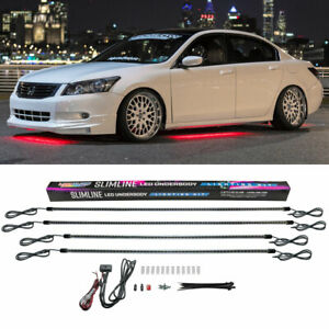 Ledglow 4pc Slimline Red Led Neon Underbody Underglow Light Lighting Car Kit