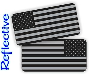 REFLECTIVE American Flag Black Ops Hard Hat Stickers Decals Stealthy Flags Pair