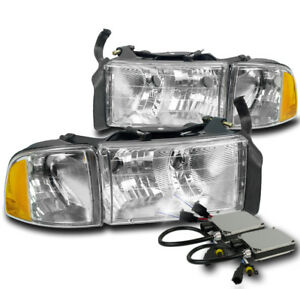 1999 2001 Dodge Ram 1500 Sport Chrome Headlights Corner Lamp 8000k Xenon