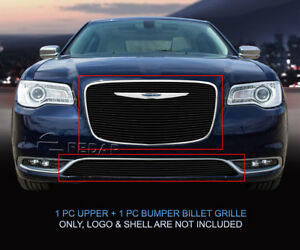 Black Billet Grille Grill Combo Insert For Chrysler 300 2015 2016