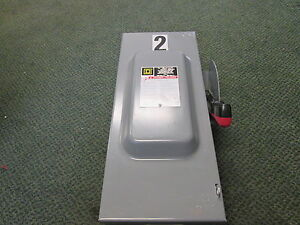 Square D Non fusible Safety Switch disconnect Hu363 100a 600v Used