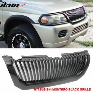 Fits 00 04 Mitsubishi Montero Sport Black Vertical Hood Grille