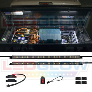 Ledglow 2pc Truck Tool Box White Led Smd Lighting Kit W Auto On off Power Switch