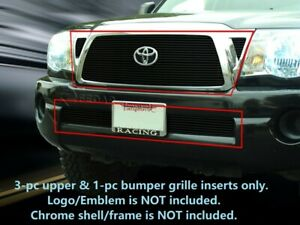 Black Billet Grille Grill Combo Inserts For Toyota Tacoma 2005 2010