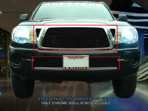 Black Billet Grille Combo Grill Insert For 2005 2010 Toyota Tacoma