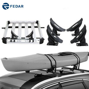 Kayak Carrier Roof Rack Universal Cross Bars 1 Set 4 Saddles Canoe Boat W Straps