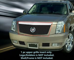 Black Main Upper Dual Weave Mesh Grille Insert For Cadillac Escalade 2007 2014