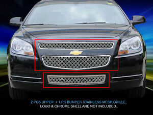 Dual Weave Mesh Grille Grill Combo For Chevy Malibu 2008 2009 2010 2011 2012