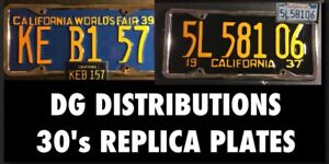 Replica Embossed Vintage California License Plate 1934 1935 1936 1937 1938 1939