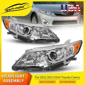 For 2012 2013 2014 Toyota Camry Clear Projector Headlights Headlamps Replacement