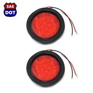 4 Round 2 Red 10 Led Stop Turn Tail Light Flush Mount Truck Trailer Pair
