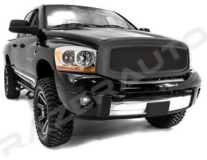 Front Hood Flat Matte Black Mesh Grille shell For 06 08 Dodge Ram 1500 2500 3500