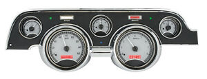 Dakota Digital 67 68 Ford Mustang Analog Gauge System Silver Red Vhx 67f mus s r