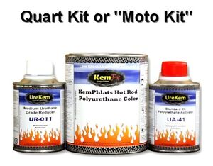 Hot Rod Low Gloss Satin Single Stage Solid Color 1 5 Quart Moto Paint Kit