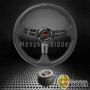 330mm Black 2 Deep Dish Pvc Steering Wheel Hub Adapter Honda Civic 96 00 Ek