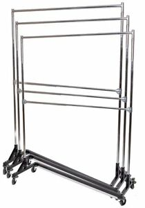Commercial Grade Double Bar Rolling Z Rack With Nesting Black Base set Of 3